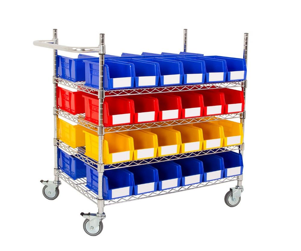 Chrome Trolley with Coloured Bins - Kit B